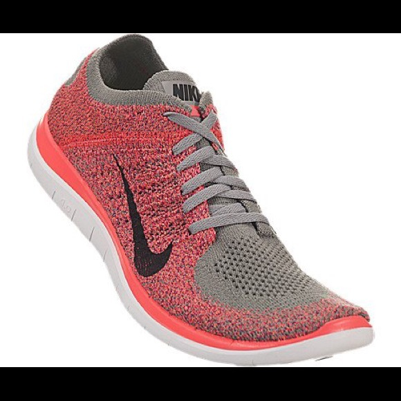 Nike Shoes Free Run Flyknit 40 Coral And Grey Like New Solgt gratis 40 Flyknit Grey Coral Neon Poshmark